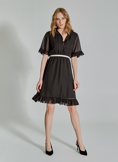 People By Fabrika Şifon Fırfırlı Elbise Siyah